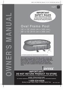 Intex Oval Swimming Pool Manual For 18 U0026 39  X 10 U0026 39  And 20 U0026 39  X 12