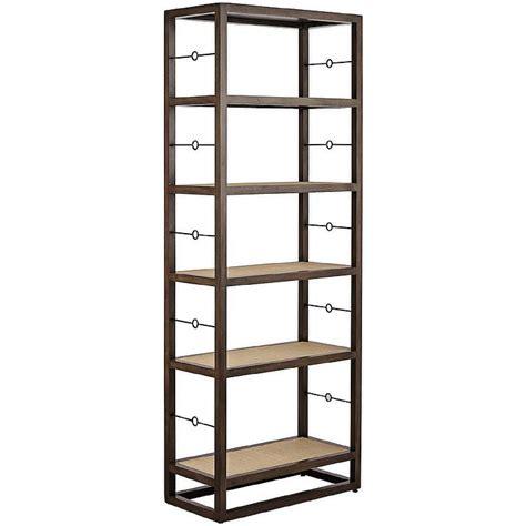 Tall Cabot Gray Mahogany Six Shelf Bookshelf