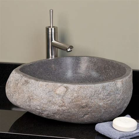 whitney stone vessel sink light gray river stone resort
