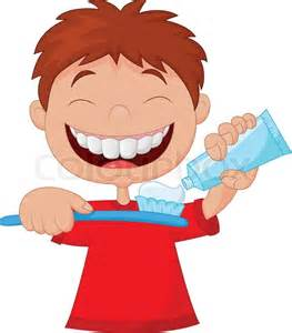 Cartoon Kid Brushing Teeth