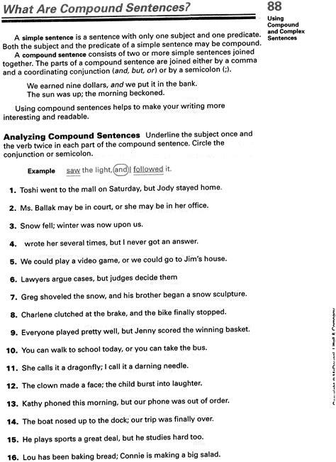 images  complex sentence worksheets  grade