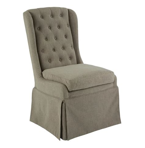 issac gray linen skirted tufted dining occasional