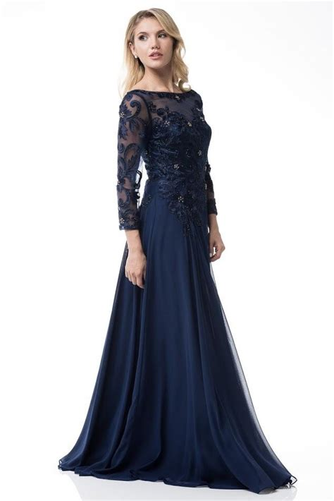 floor length long sleeves chiffon navy mother   bride