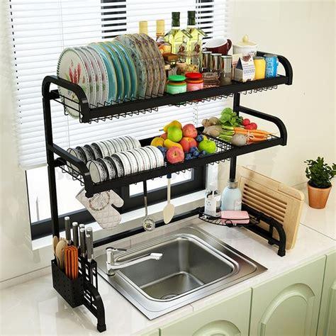 camadas multi uso oragnizer stready pratos rack de aco inoxidavel pia da cozinha escorredor