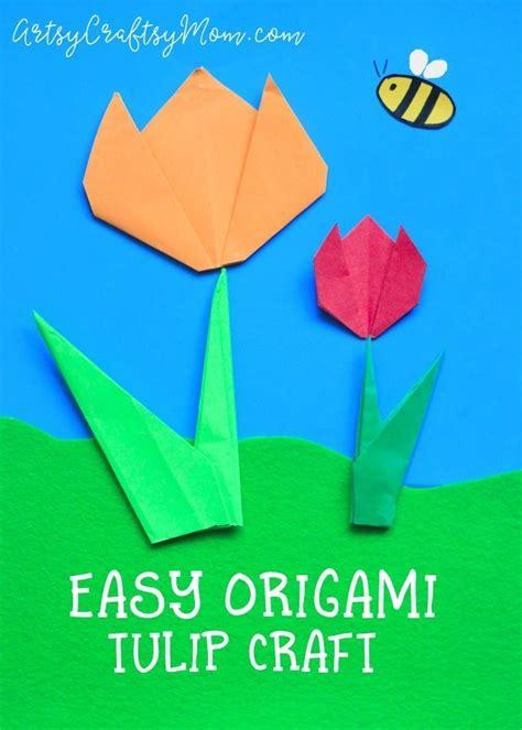 easy origami tulip craft  kids artsy craftsy mom