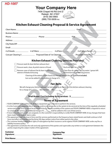 hd  kitchen exhaust cleaning proposal service