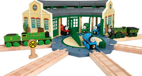 tidmouth sheds wooden roundhouse fisher price und seine freunde lokschuppen holz