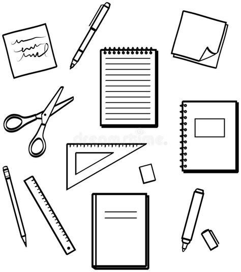 principal039s office clipart black and white office supplies vector illustrations royalty free stock
