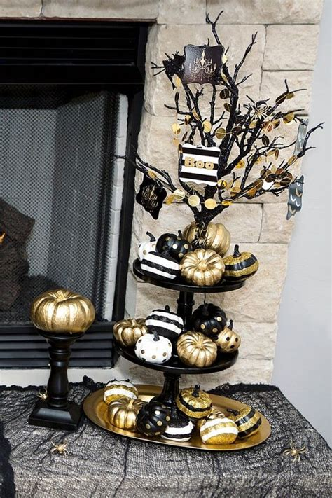 refined black  gold halloween decor ideas shelterness