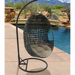 Hanover, Outdoor, Furniture, Rattan, Wicker, Pod, Swing, Chair, With, Sage, Green, Cushion
