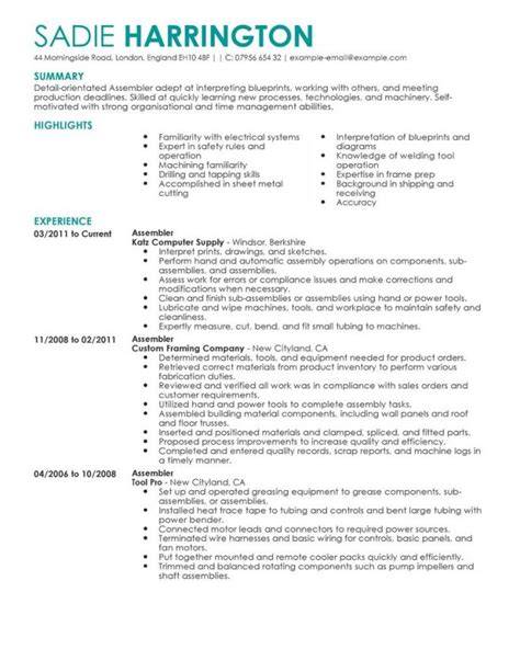 assembly line worker resume sle resume free sle