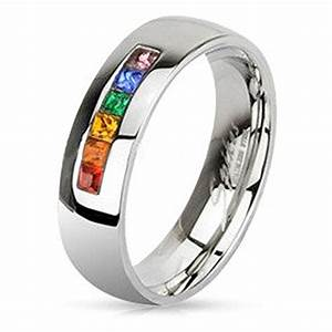 Inexpensive gay pride wedding rings or engagement rings for Same sex wedding rings