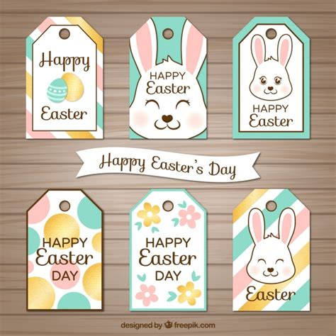 vector collection  easter labels