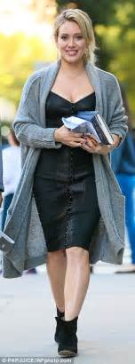 hilary duff musters a smile despite filming almost non stop in new york daily mail