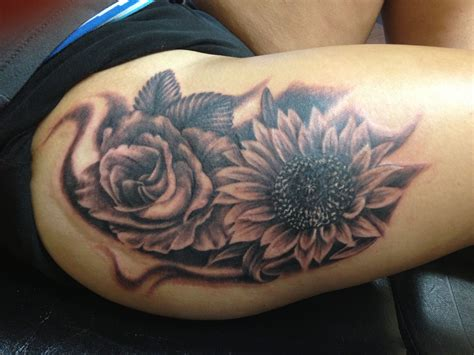 sunflower  rose tattoo   tyler walstrom tattoos sunflower tattoo design sunflower