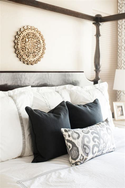 White Accent Pillows For Bed by Black White And Ikat Accent Pillows On Bed Hgtv