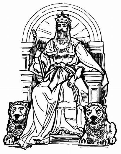Throne King Coloring Lion Pages Statue Clipart