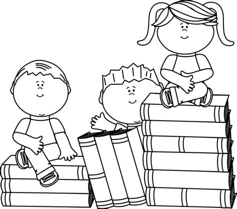 11892 student reading clipart black and white black and white sitting on books clip black and