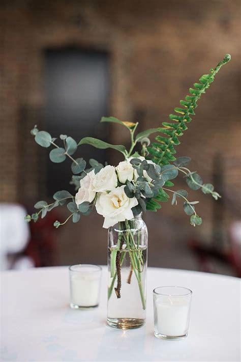 Rustic Wedding Centerpiece White Roses Centerpiece