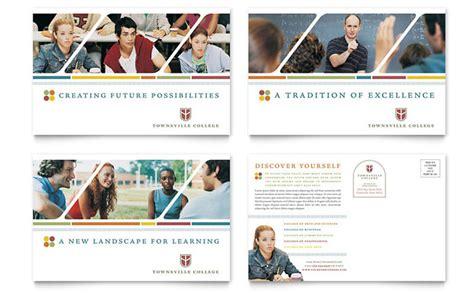 college university postcard template design