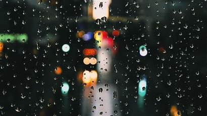 Rain Window Drops Wallpapers Bokeh Background Glare