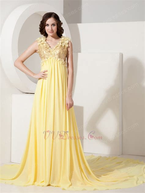 light yellow dress light yellow v neck sequin prom dress with handmade flowers