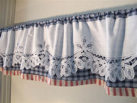 battenburg trim valance white blue valance woven plaid