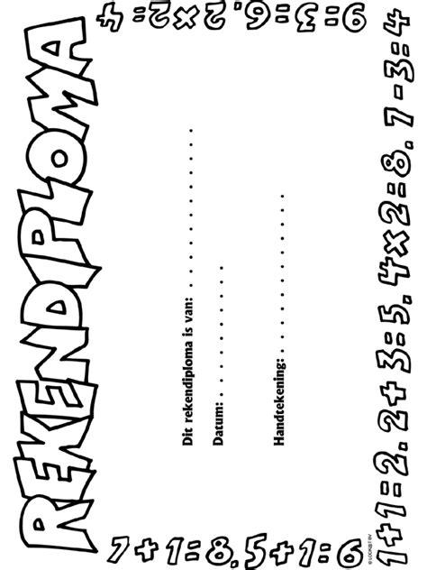 Rijbewijs Kleurplaat by Rekenen Diploma Knutselpagina Nl Knutselen