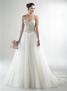 stunning a line strapless tulle beaded crystal sparkly With wedding dresses sparkly