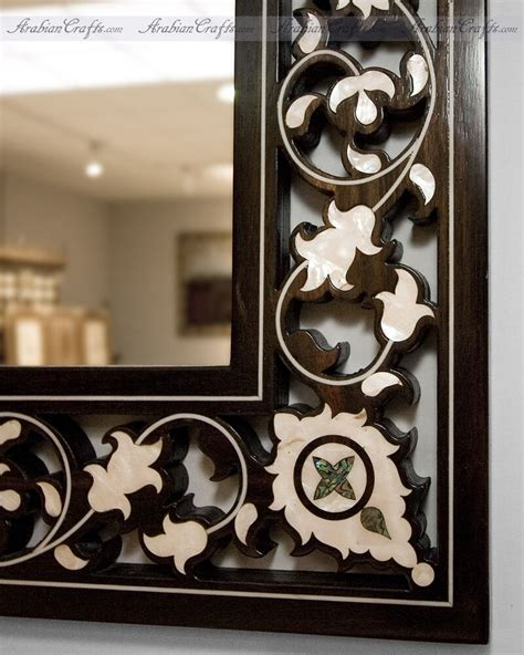 Decorative Mirror - moroccan style large decorative wood framed flower design