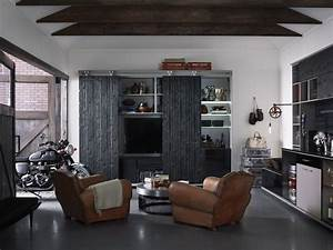 Man Cave Ideas Shed Industrial With Leather Chairs Sliding