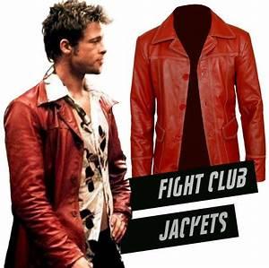 Tyler Durden Red Leather Jacket | Brad Pitt Fight Club Costume
