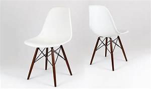 Chaise Blanche Bois : chaise eiffel blanche design dsw avec pied en bois wenge ~ Teatrodelosmanantiales.com Idées de Décoration