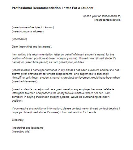 recommendation letter   student template  letter