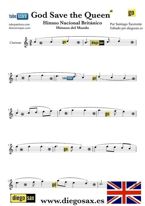Clarinet sheet music with lettered noteheads book 1. tubescore: God Save the Queen Easy Version for Clarinet British Nathional Anthem