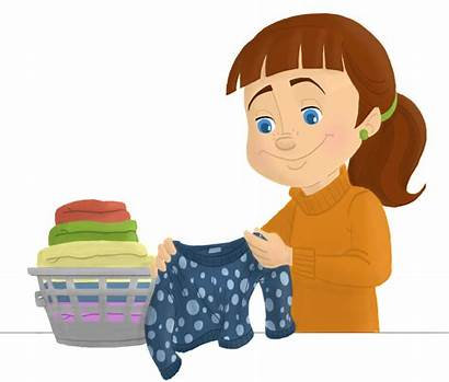 Laundry Folding Folded Clipart Clean Clothes Sorting