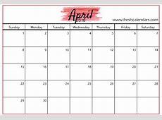 Printable Calendar April 2018 Monthly Template