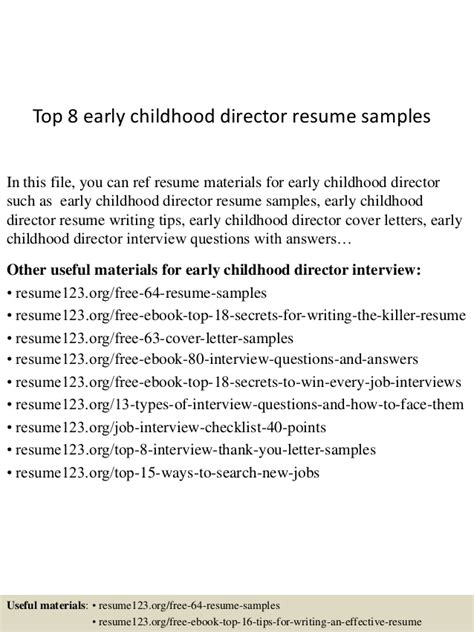 Early Childhood Resume Sle by Top 8 Early Childhood Director Resume Sles
