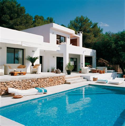 modern white house design with swimming pool in ibiza freshnist
