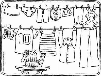 Coloring Washing Colouring Line Wasdraad Kleding Clothes
