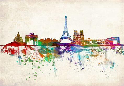 paris skyline painting by evgeni nedelchev