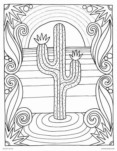 Coloring Desert Pages Sunset Scene Cactus Adults