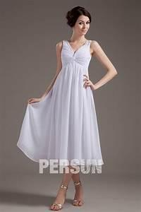 Robe Mi Longue Mariage : robe blanche pour mariage pliss e mi longue col en v ~ Melissatoandfro.com Idées de Décoration