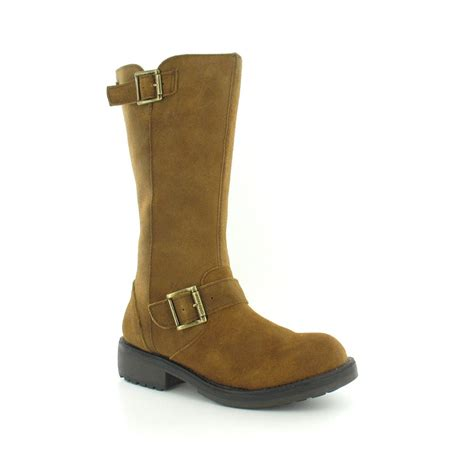 biker boot style rocket dog knockout womens suede leather mid calf biker