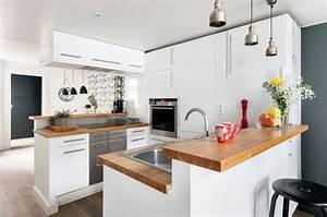 cuisine bois moderne idees pour un interieur chaleureux With salle À manger contemporaine avec cuisine aménagée en bois