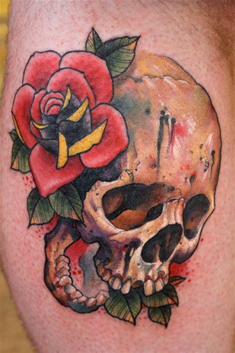 red rose  skull tattoo chris lennox   flower tattoos