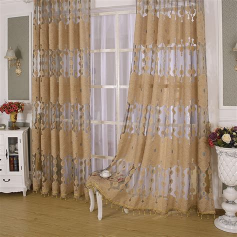 brown sheer curtains with flower patterns in high end and