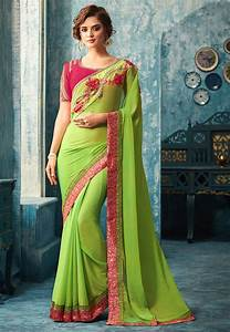 Plain Chiffon Saree In Light Green   Syc7561