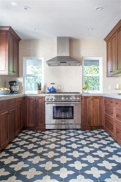 blue and white tiles kitchen 25 bold flooring ideas that make your spaces stand out digsdigs