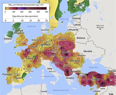 Carte Pollution Europe by Berkeley Earth